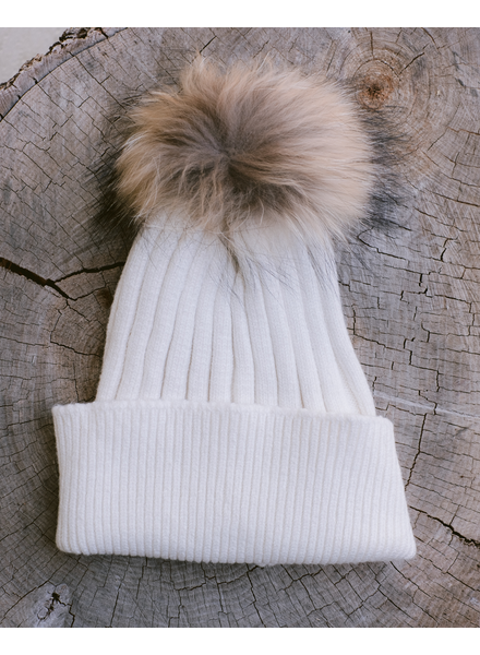Winter Ivory Pom Pom Hat