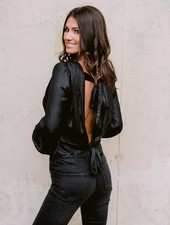 Blouse Leather Look Blouse