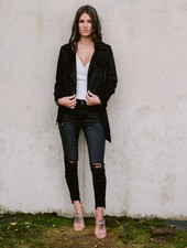 Leather Black Suede Moto Jacket