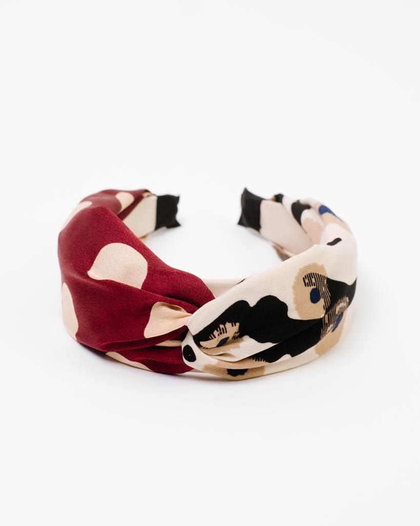 Headband Polka Floral Print Headband