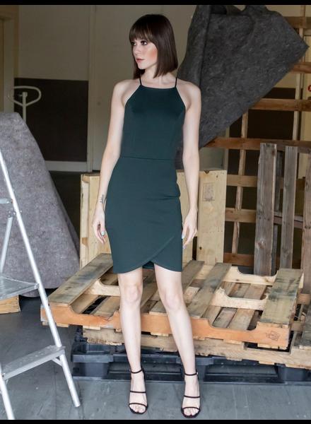 Mini Hunter Green Halter Dress