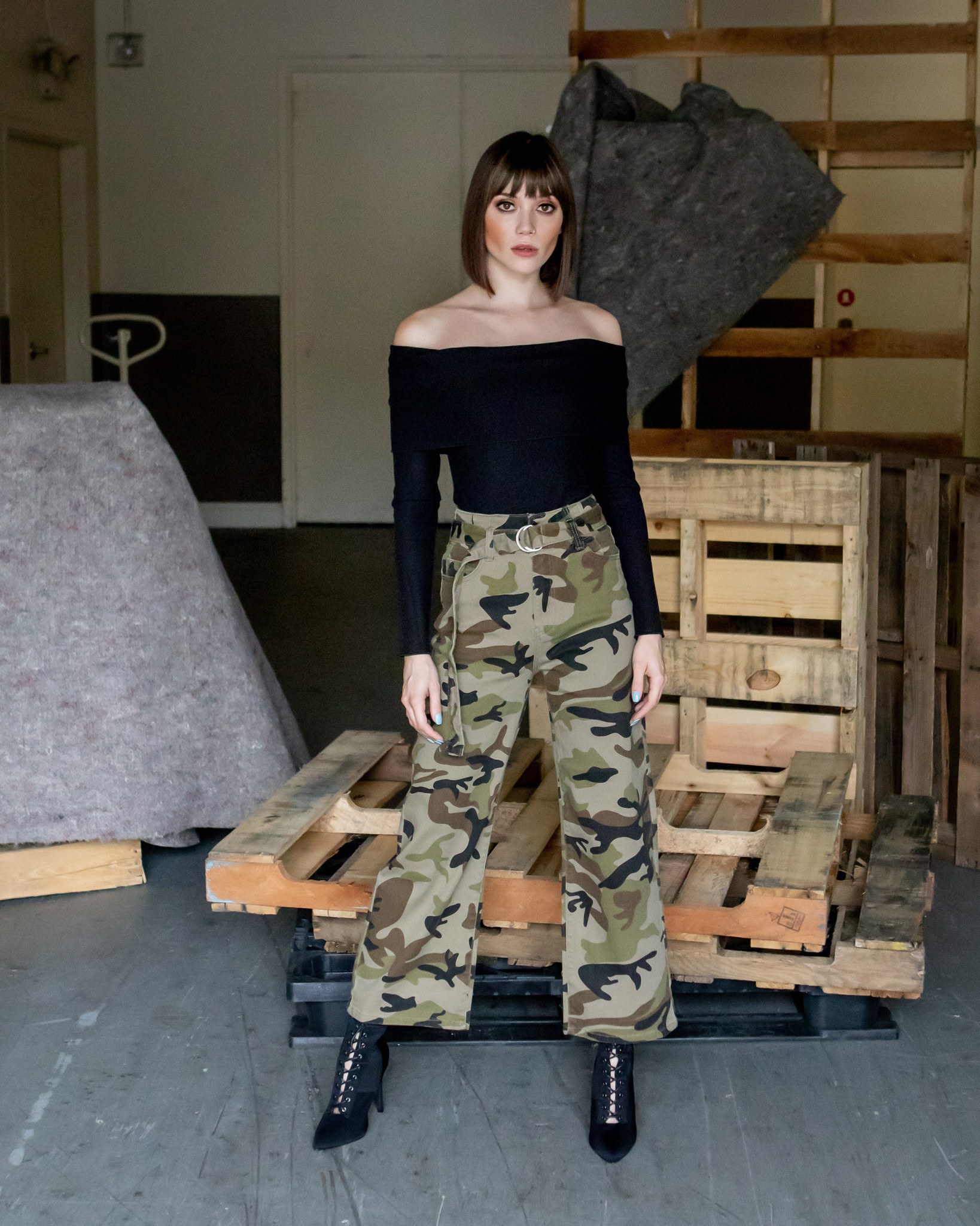 Pants Camo Belted Pant
