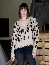 Knit Frayed Sand Leopard Sweater