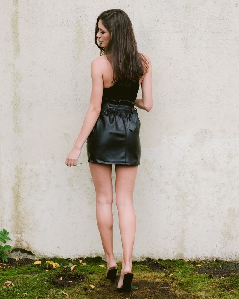 Skirt Belted Leather Mini