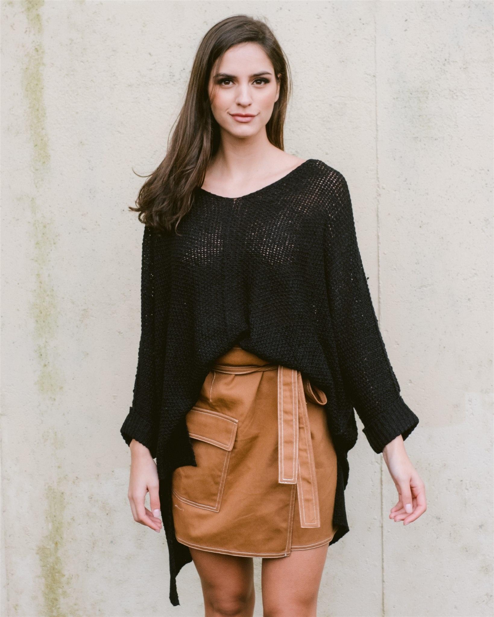 Sweater Black Cuff Knit