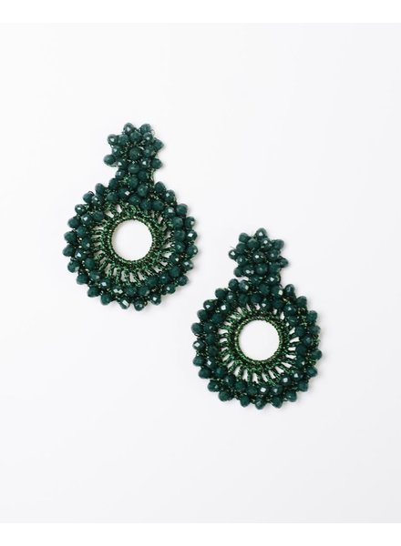 Dressy Green Beaded Disk Earrings