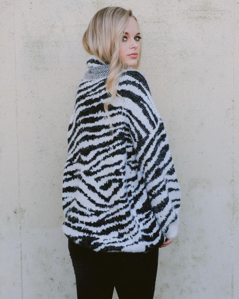 Knit Zebra Turtleneck Knit
