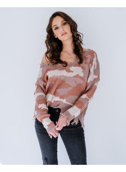 Knit Frayed Camo Sweater