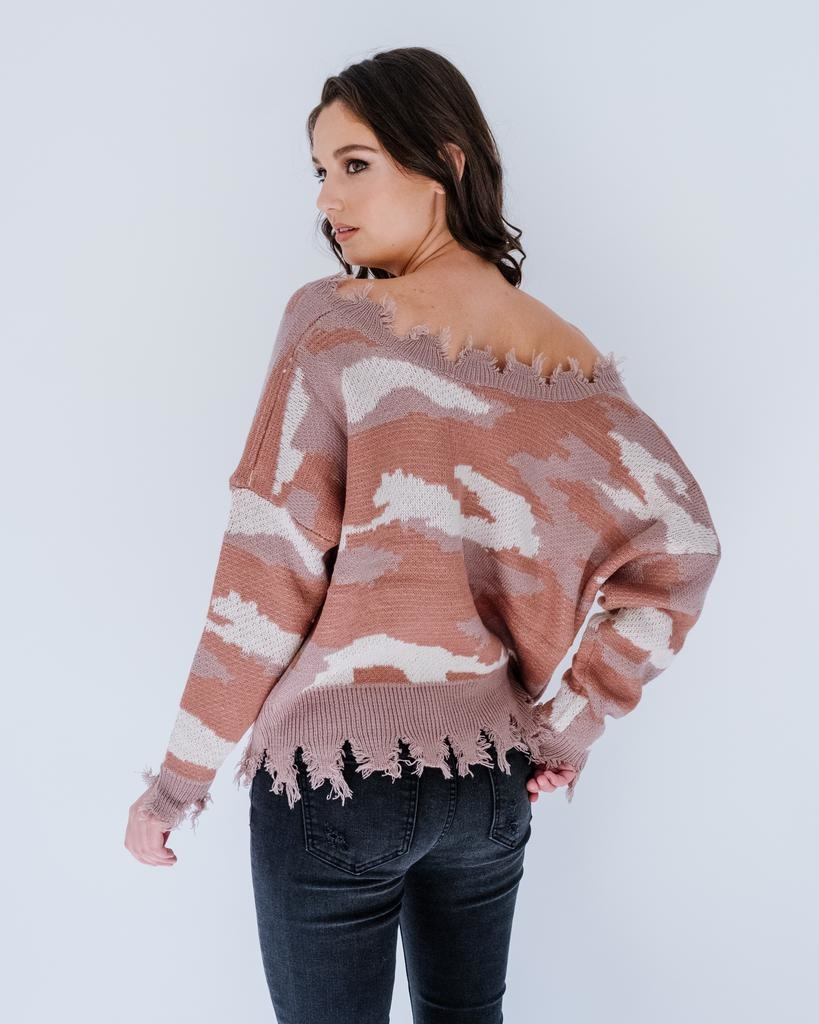 Knit Frayed Camo Sweater