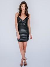 Mini Leather Wrap Dress