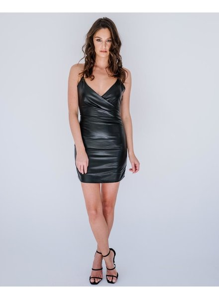 Mini Leather Wrap Dress