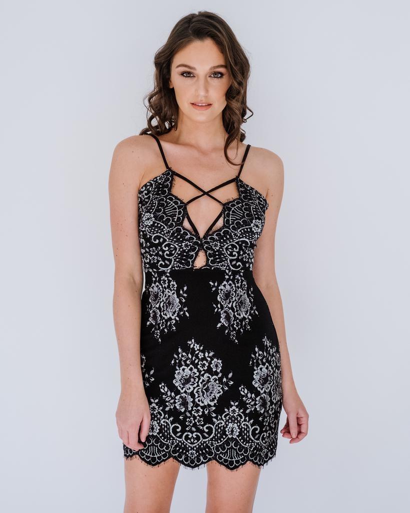 Mini Lace Floral Mini Dress