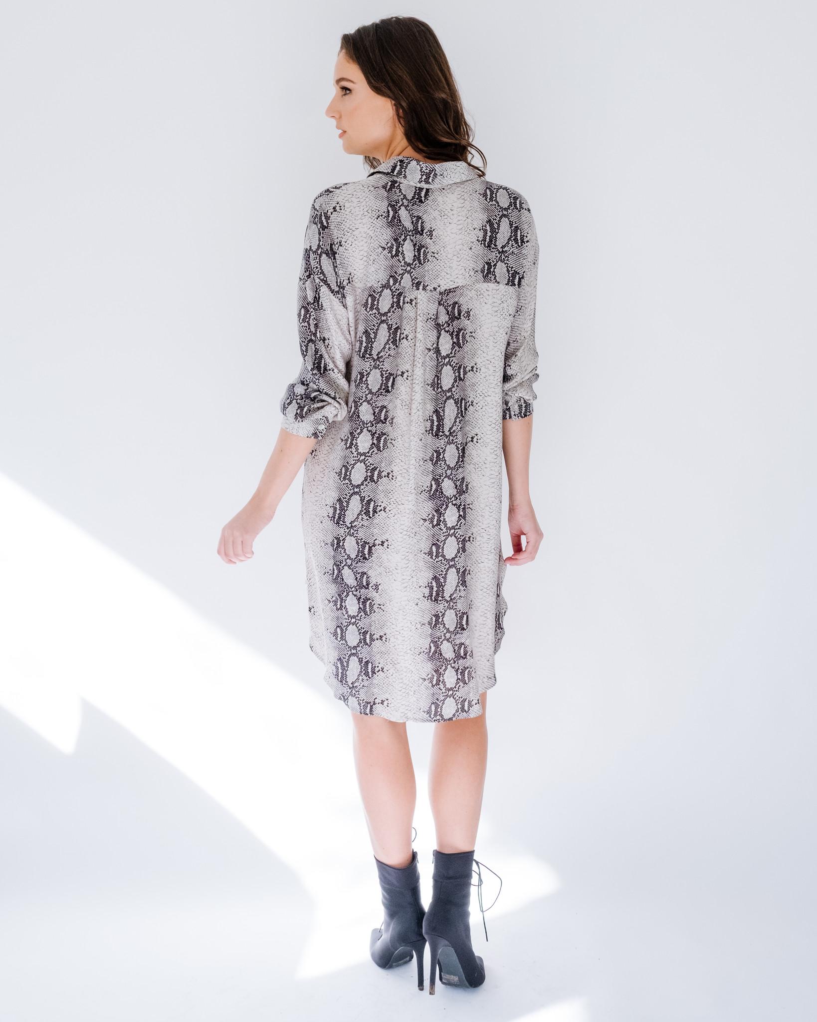 Casual Python Shirt Dress