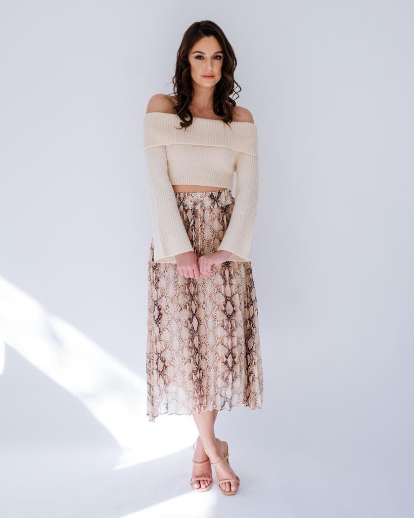 Skirt Snake Pleated Midi Skirt