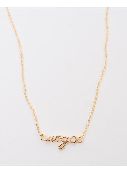 Gold Cursive Virgo Necklace