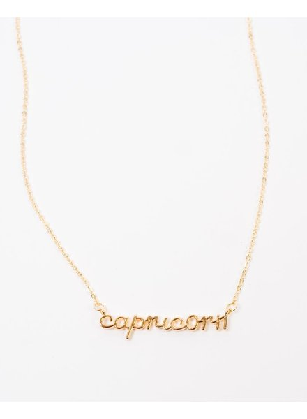 Gold Cursive Capricorn Necklace