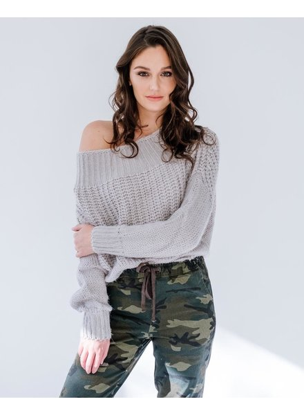 Knit Fuzzy Grey Knit
