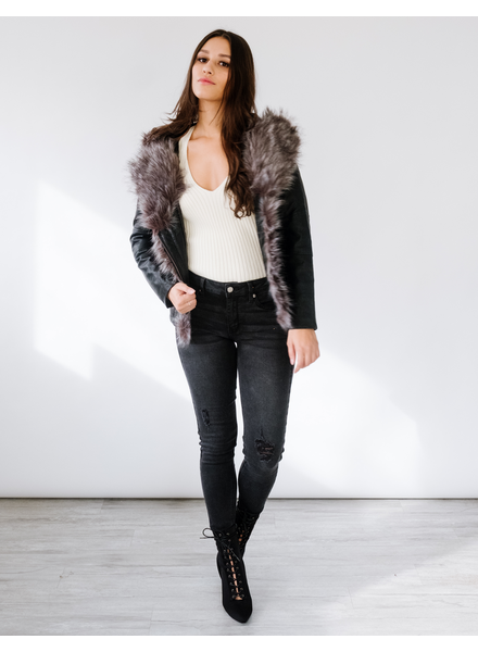 Winter Fur Collar Leather Jacket