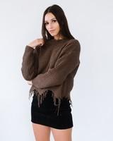 Sweater Olive Fray Hem Sweater