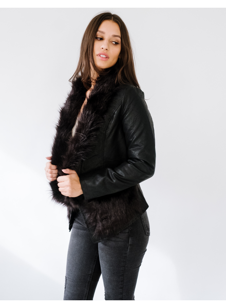 Winter Fur Trim Leather Jacket