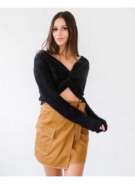 Knit Black Fuzzy Cropped Knit