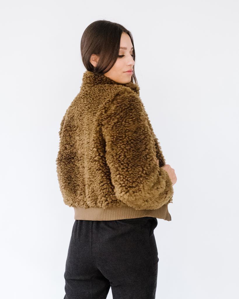 Winter Olive Sherpa Bomber Jacket