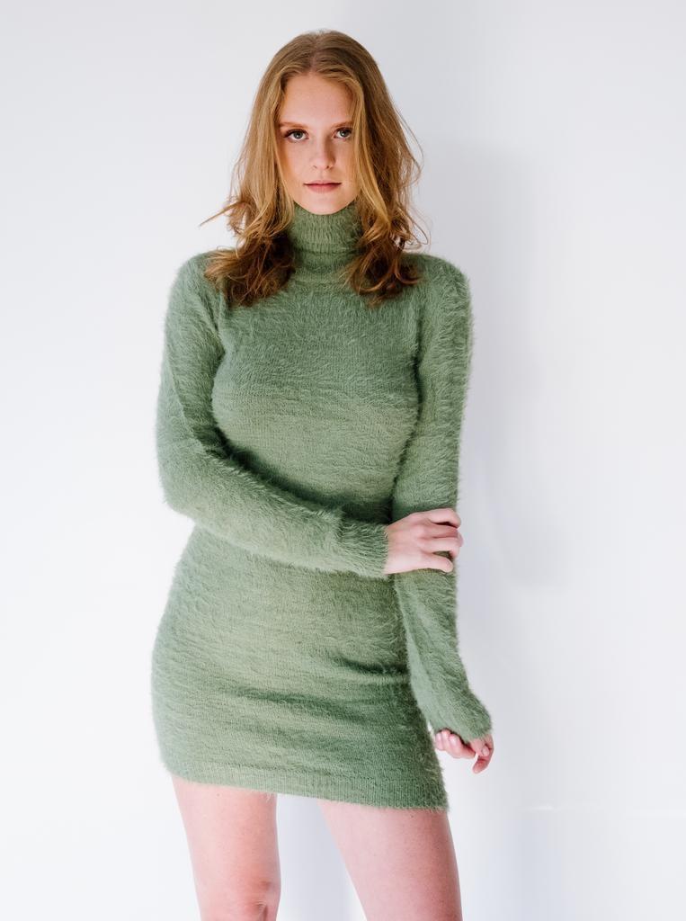Mini Sage Open Back Dress