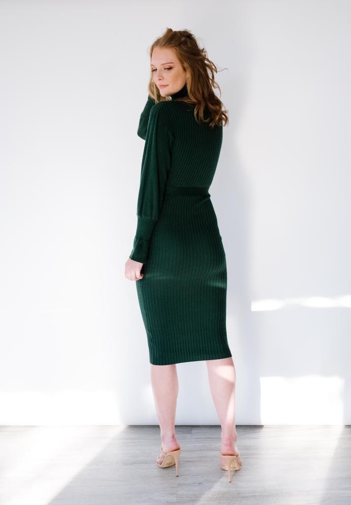 Midi Puff Sleeve Sweater Dress