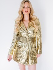 Mini Gold Sequin Blazer Dress