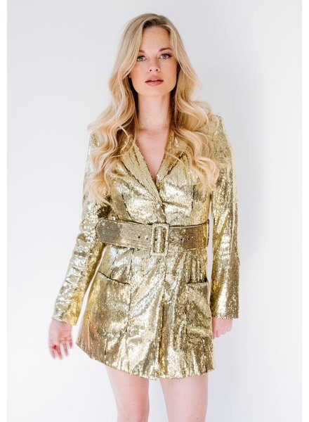 Mini Gold Sequin Blazer Dress