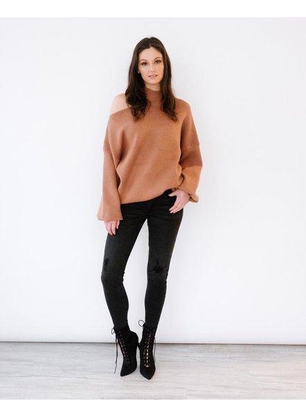 Sweater Mocha Slash Neck Sweater