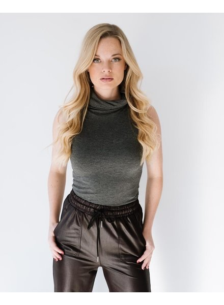 Tank Charcoal Cowl Jersey Knit