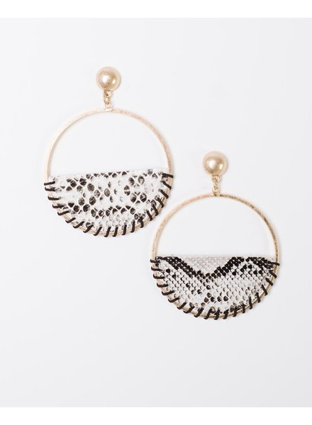 Trend Snake Print Drop Hoop Earrings
