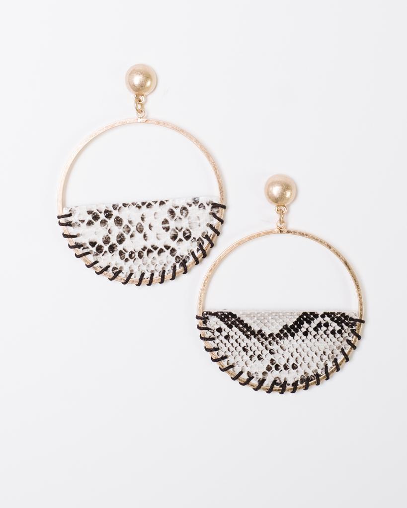 Trend Snake Print Drop Hoop Earrings