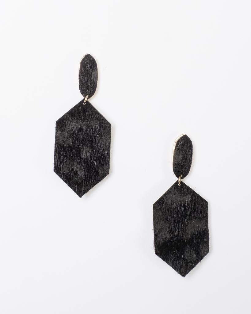 Trend Vegan Hide Print Drop Earrings