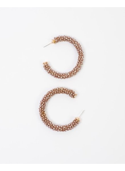 Trend Mocha Beaded Open Hoop Earrings