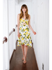 Midi Lemon Print Tie Front Dress