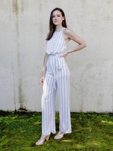 Casual Striped Open Back Jumpsuit