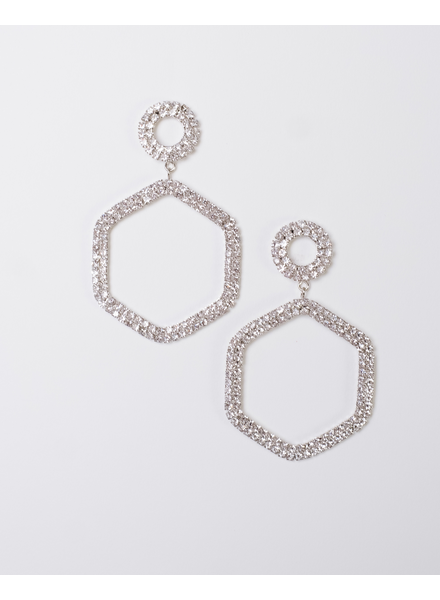 Trend Rhinestone Hexagon Drop Earings