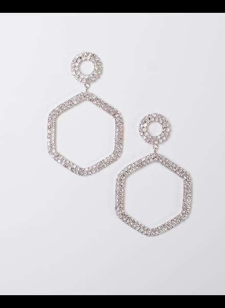Trend Rhinestone Hexagon Drop Earings