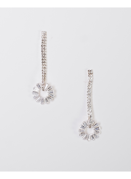 Trend Silver rhinestone drop earring with hanging circle.