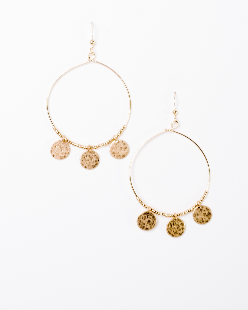 Trend Goldtone hoop with small gold pendants.