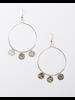 Trend Silvertone hoop with silver pendants.