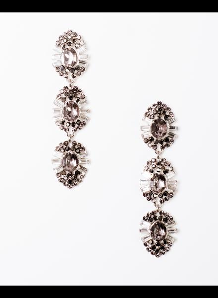 Trend Bejeweled pewter drop down earring