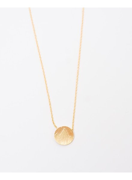 Gold Goldtone Mountain Pendant Necklace