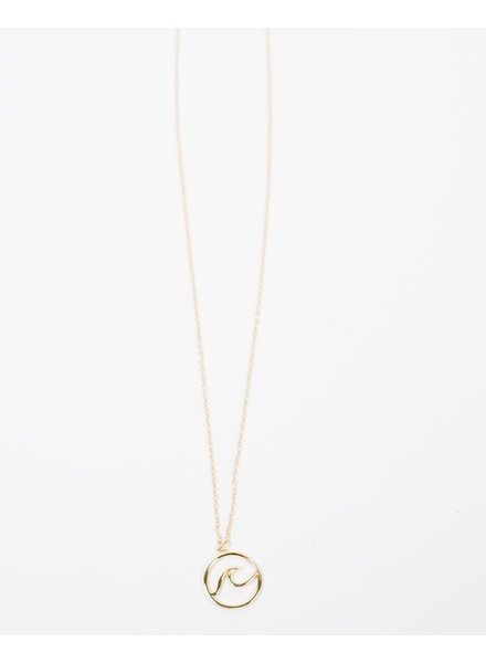 Gold Sterling Gold Wave Pendant Necklace