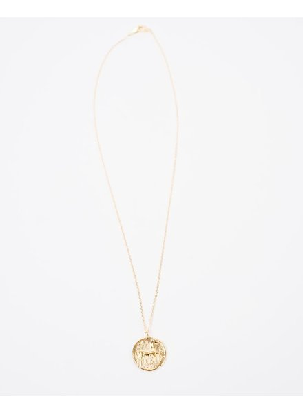 Gold Goldtone Ancient Greek Pendant Necklace