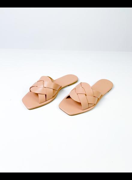 Sandal Nude Squared Off Slides