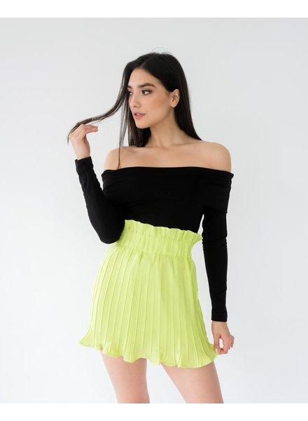 Skirt Lime Pleated Mini Skirt