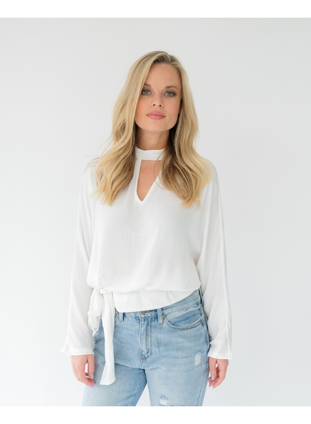Blouse White Mock Neck Blouse